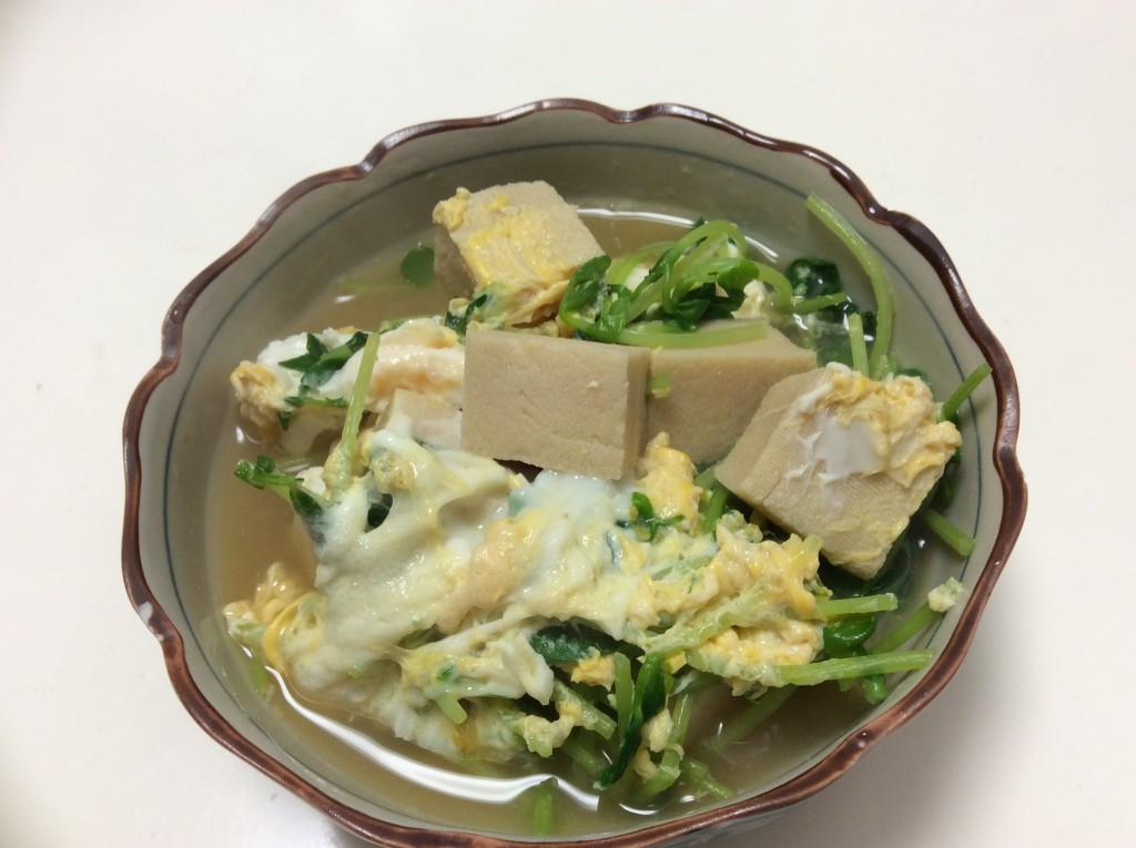 高野豆腐と豆苗の卵とじ 脳にいい食べ物レシピ#86
